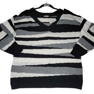 Cato Pullover Sweater Black White Gray Abstract